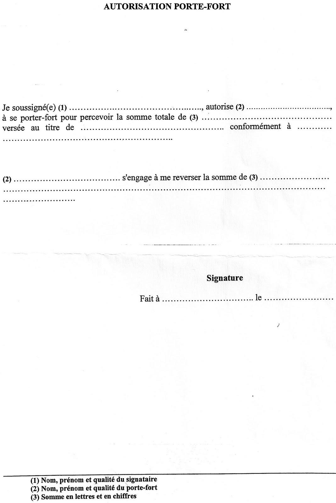 Modele procuration pour porte fort document online - Declaration porte fort heritier ...